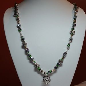 GREEN CZECH GLASS NECKLACE